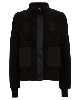 Delfern Rib Knit Zip-Up Jacket, BLACK, hi-res