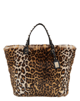 Faux Fur Leopard Shopper Tote, MULTI, hi-res