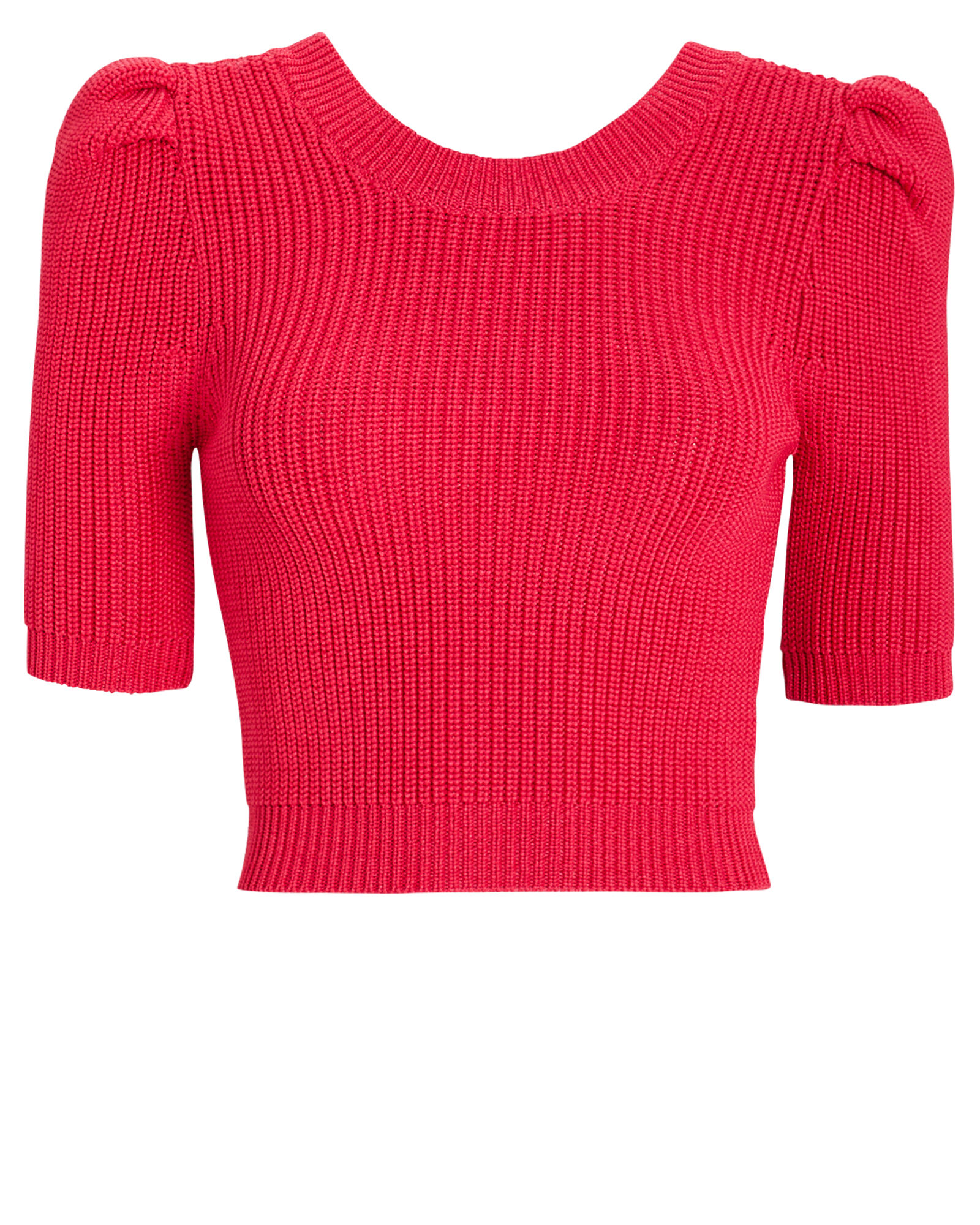Pleated Sleeve Knit Crop Top, RED, hi-res