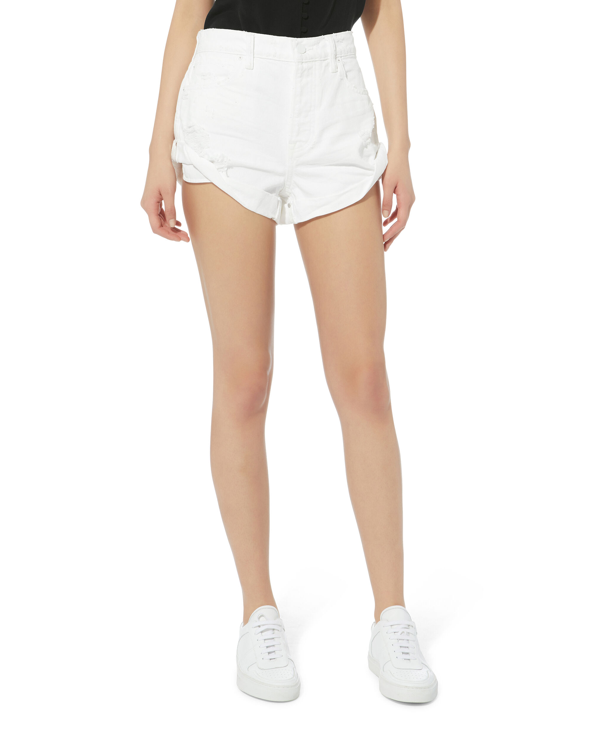 Hiked Rolled Shorts, WHITE, hi-res