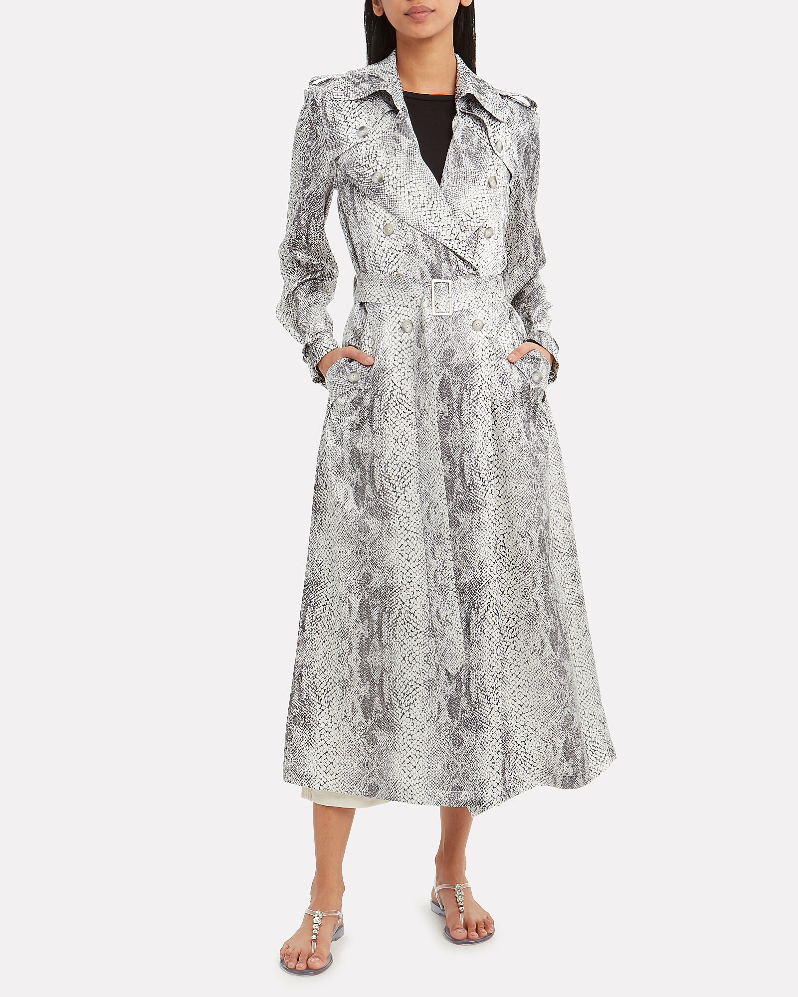 Snakeskin Print Trench Coat, MULTI, hi-res