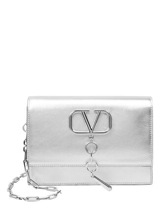 Small VCase Leather Crossbody, SILVER, hi-res