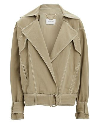 Oversized Denim Moto Jacket, BEIGE, hi-res