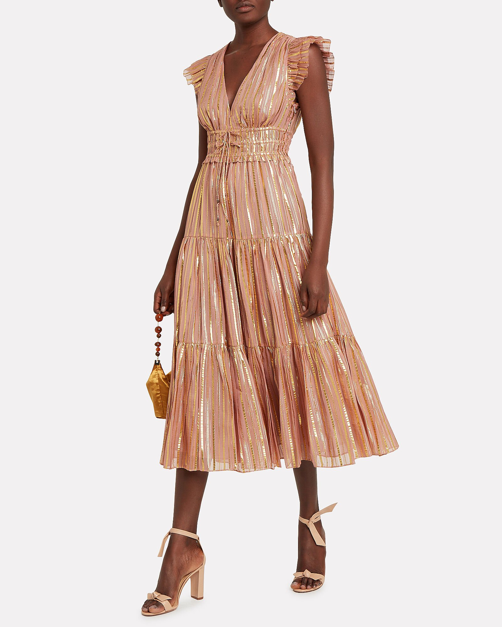 Justyne Gilded Silk Dress, BLUSH, hi-res