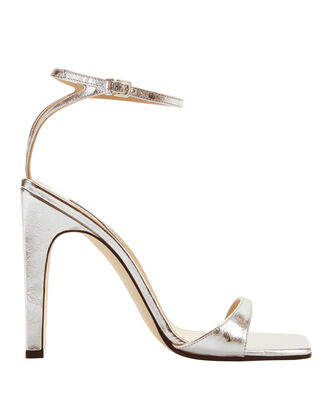 sr1 Silver Laminated Leather Sandals, SILVER, hi-res