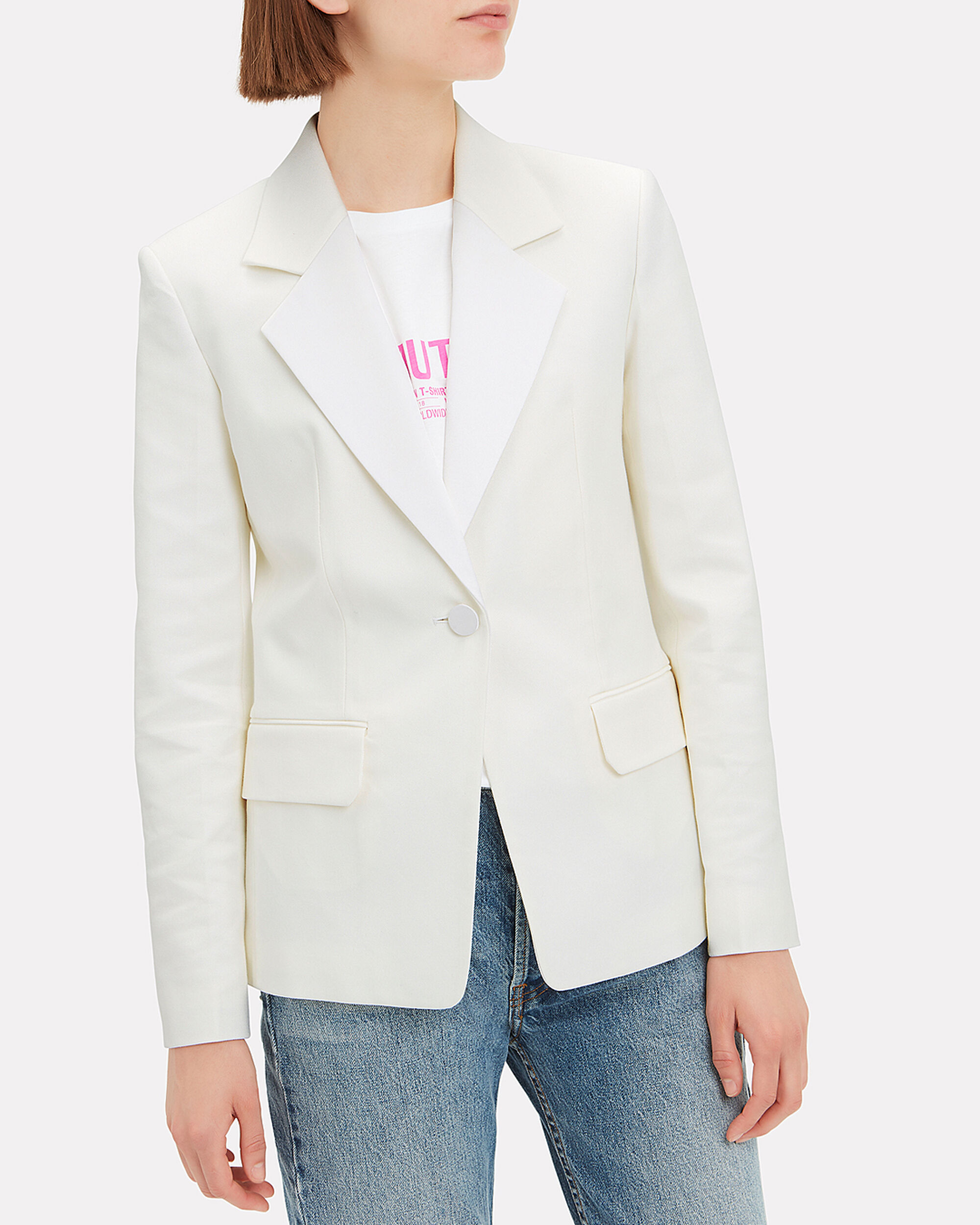 Shiny Lapel Blazer, WHITE, hi-res