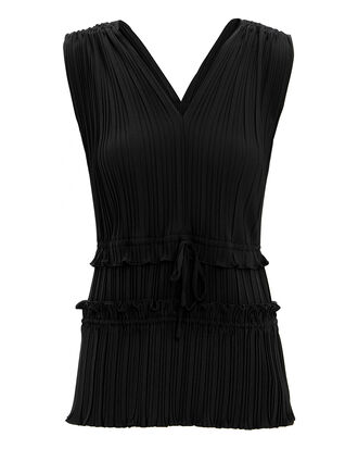 Pleated V-Neck Blouse, BLACK, hi-res