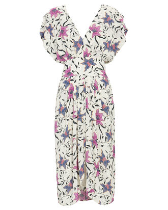 Omeya Floral Crepe Dress, IVORY, hi-res