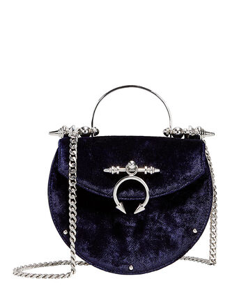 Saddle Velvet Crossbody Bag, NAVY, hi-res