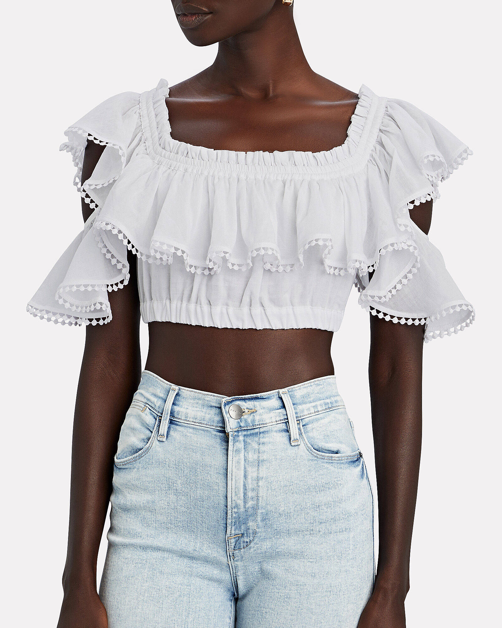 Cata Off-the-Shoulder Crop Top, WHITE, hi-res