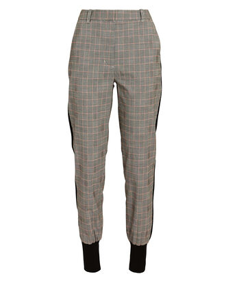 Checked Wool Jogger Pants, BLK/WHT, hi-res