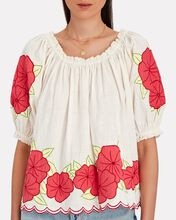 Floral Garland Puff Sleeve Top, IVORY, hi-res