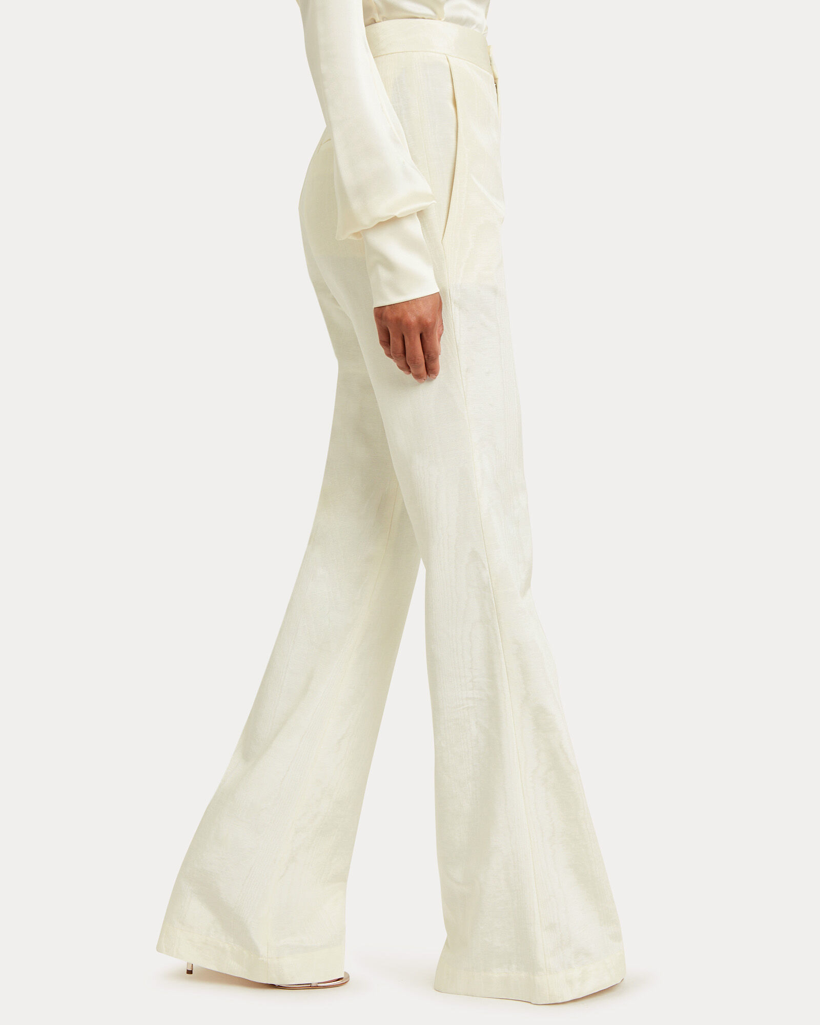 Erin Moiré Flared Trousers, WINTER WHITE, hi-res
