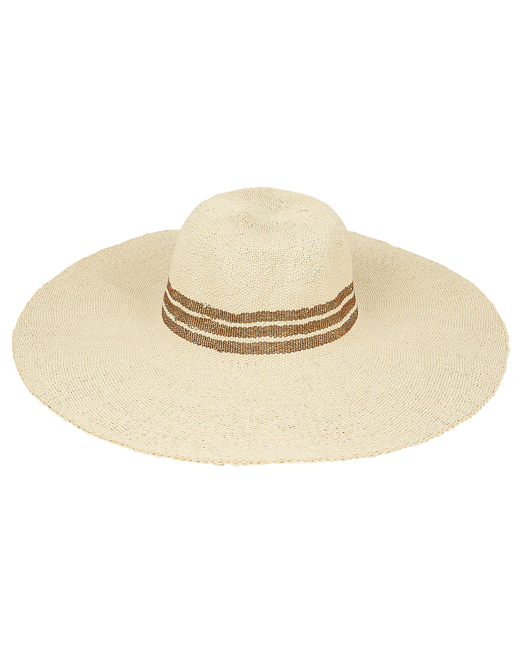 Metallic Inset Stripe Sunhat, TAN, hi-res