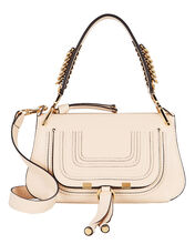 Marcie Leather Saddle Bag, IVORY, hi-res