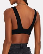 Eco Rib Knit Triangle Bralette, BLACK, hi-res