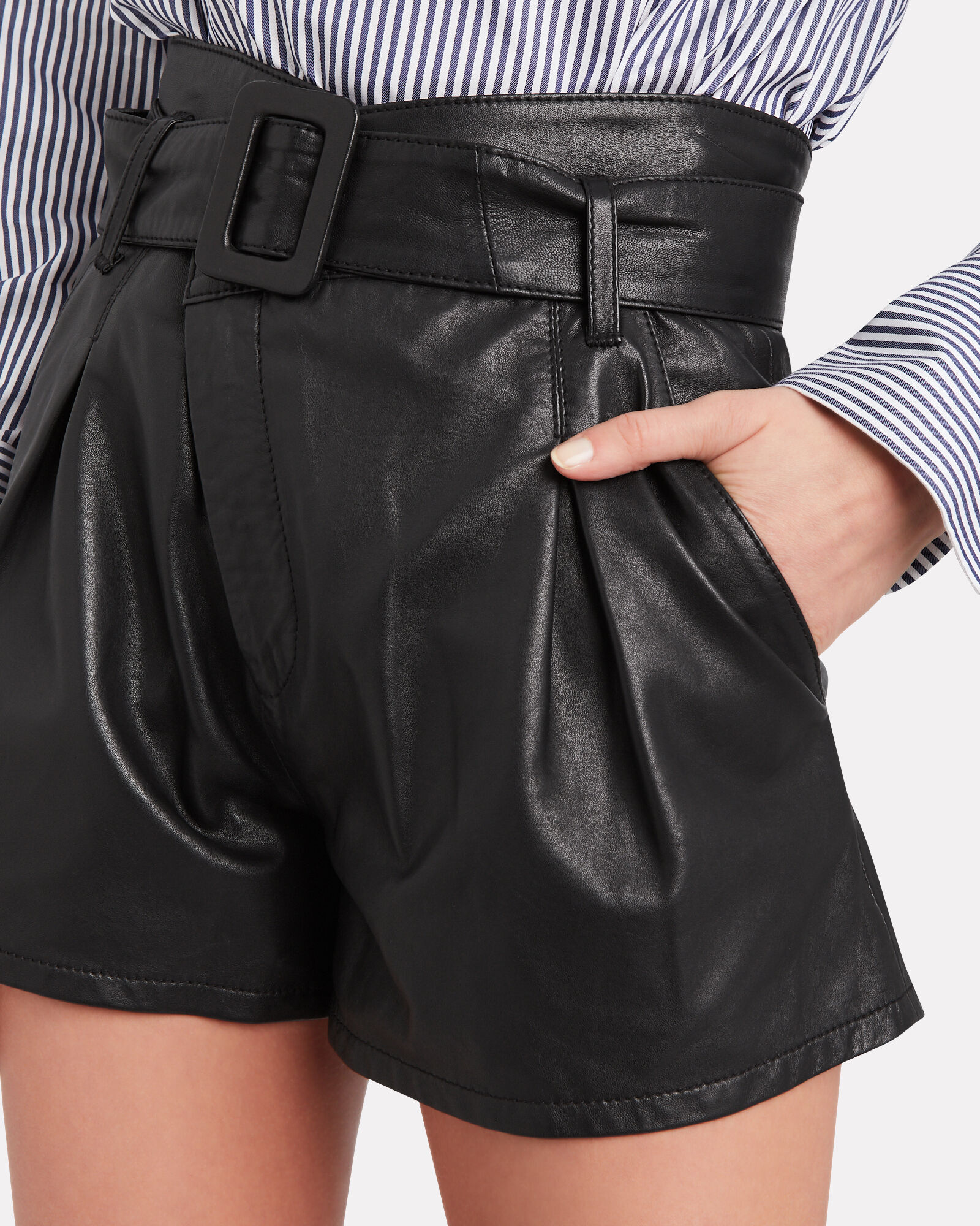 Levi Belted Leather Shorts, BLACK, hi-res