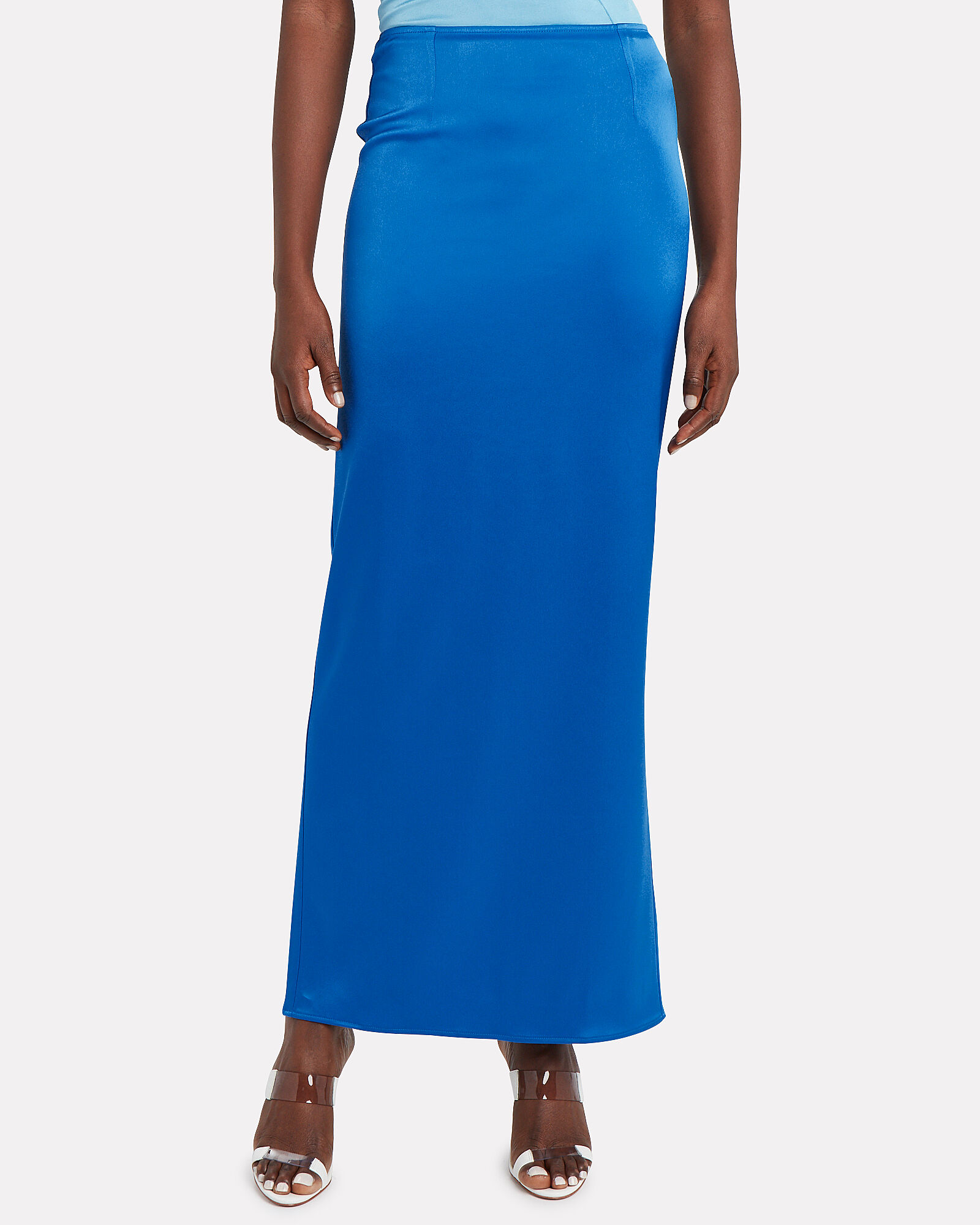 Satin Maxi Skirt, COBALT, hi-res