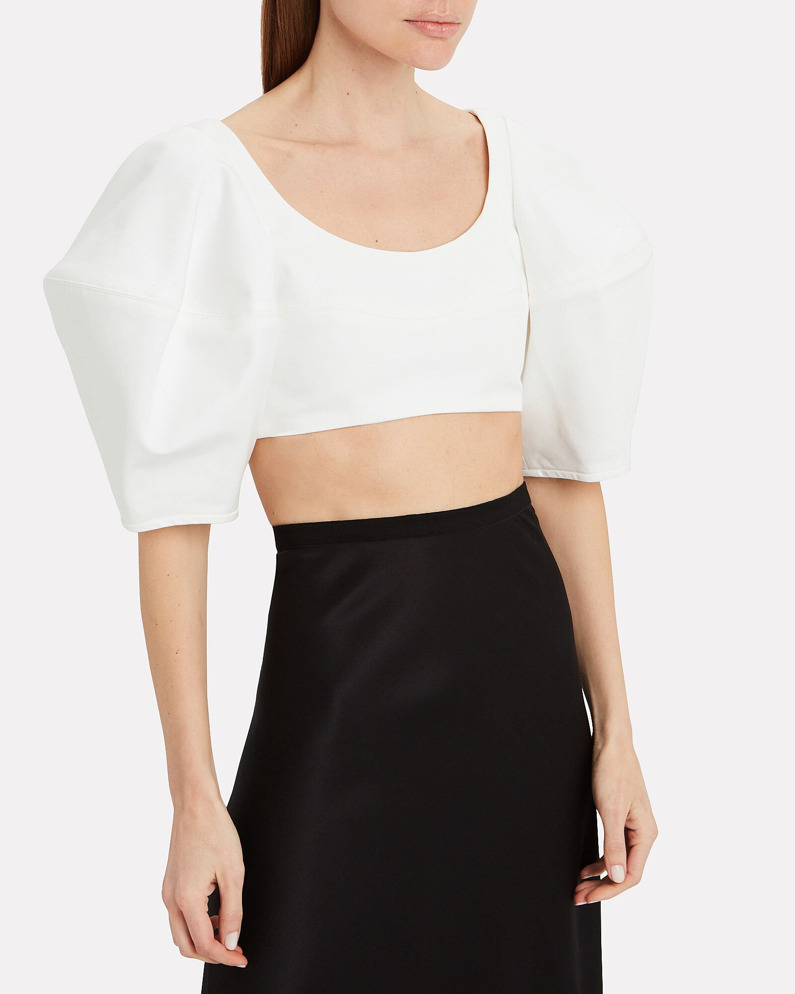 Neatly Labeled Bubble Crop Top, WHITE, hi-res