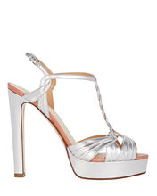 Braided T-Strap Platform Sandals, SILVER, hi-res