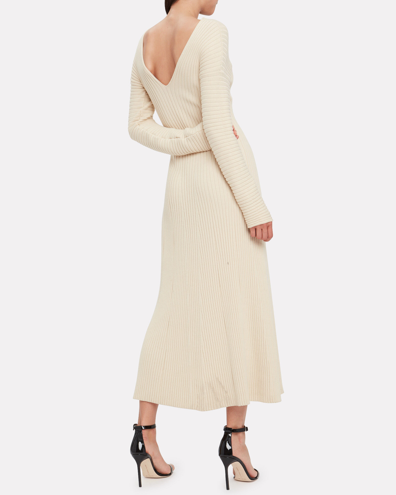 Fawn Ribbed Knit Dress, IVORY, hi-res