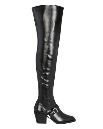 Ankle Buckle Over-The-Knee Boots, BLACK, hi-res