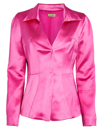 Amalfi Fitted Satin Blazer, PINK, hi-res