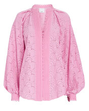 Cookes Balloon Sleeve Lace Blouse, PINK, hi-res