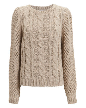 Rosie Cabled Sweater, BEIGE, hi-res