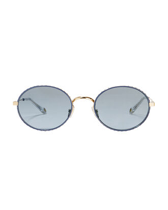 Blue Round Metal Sunglasses, BLUE-MED, hi-res