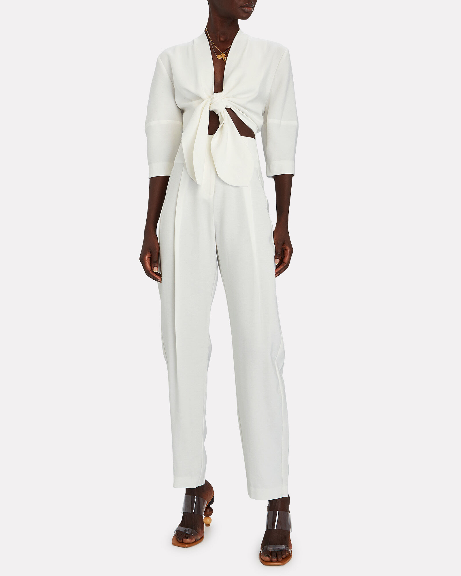 Pleated High-Rise Trousers, IVORY, hi-res