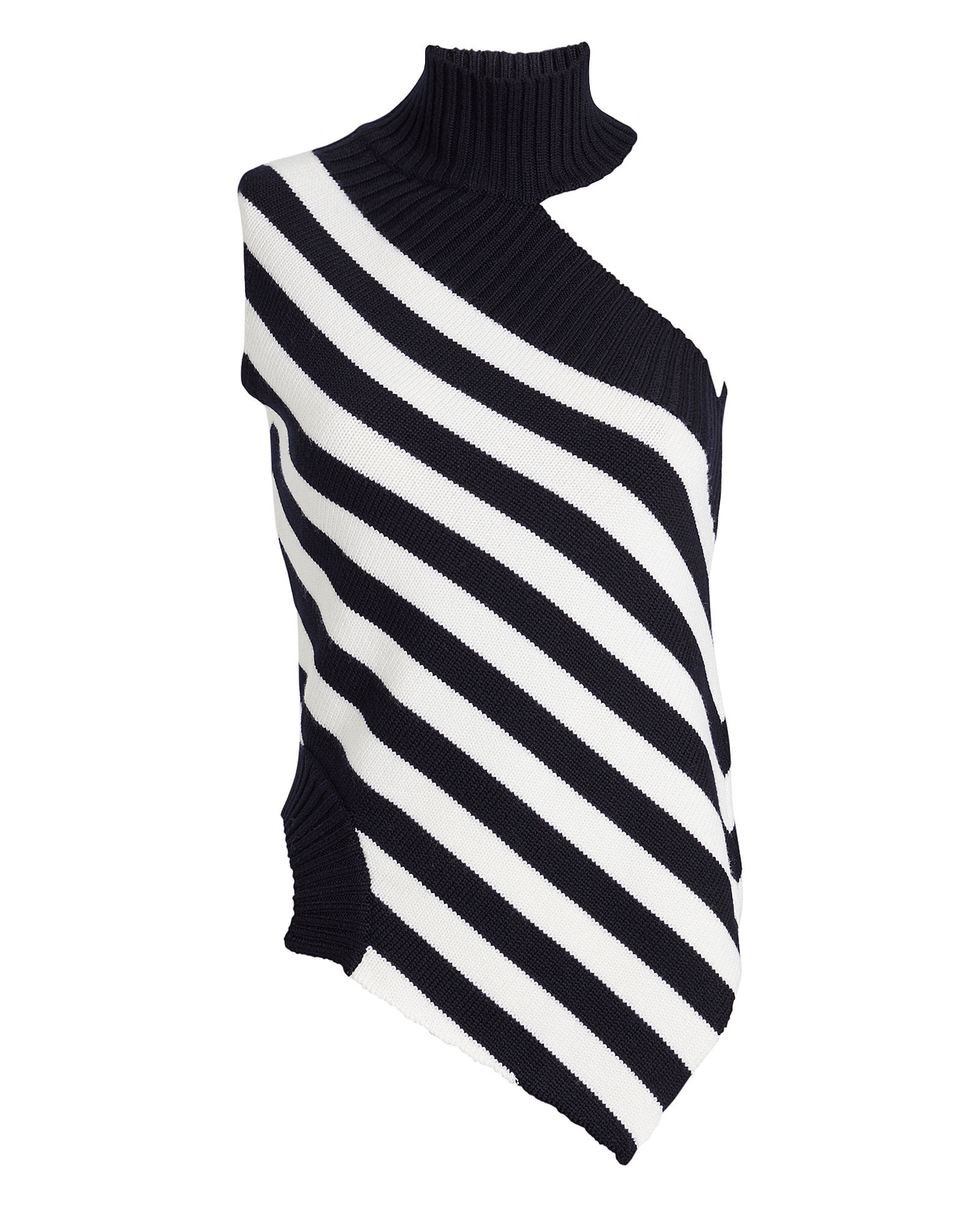 Striped Sleeveless Wool Turtleneck, NAVY, hi-res