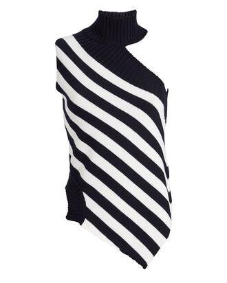 Striped Sleeveless Wool Turtleneck, NAVY/WHITE, hi-res