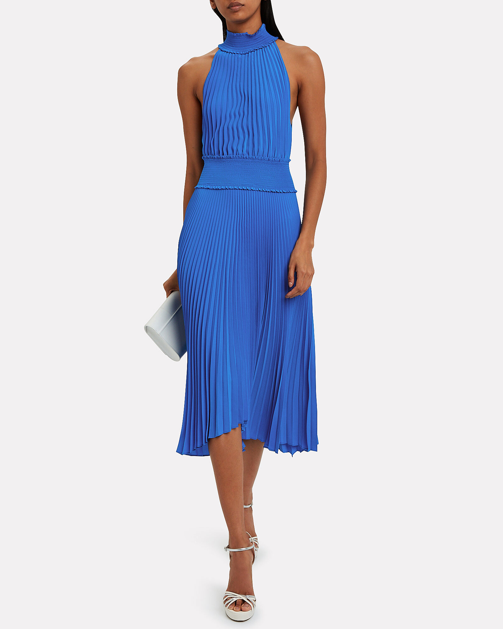 Renzo Pleated Midi Dress, BLUE-MED, hi-res