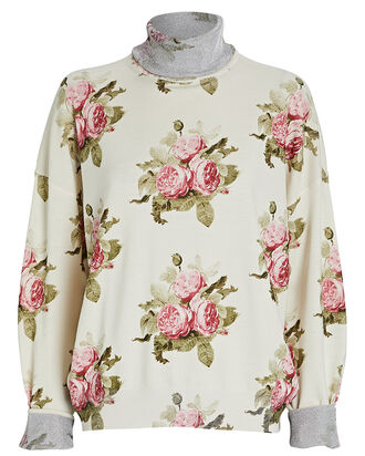 Rose Printed Mock Neck Sweater, IVORY/FLORAL, hi-res