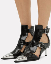 Cutout Leather Buckle Booties, BLACK, hi-res