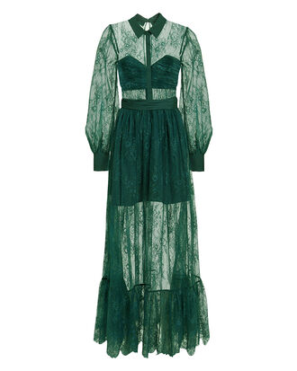 Floral Fine Lace Maxi Dress, GREEN, hi-res