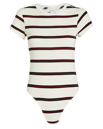 The 60's Slim Tee Bodysuit, WHITE/STRIPE, hi-res