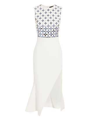Crystal Floral Embellished Side Slit Dress, WHITE, hi-res