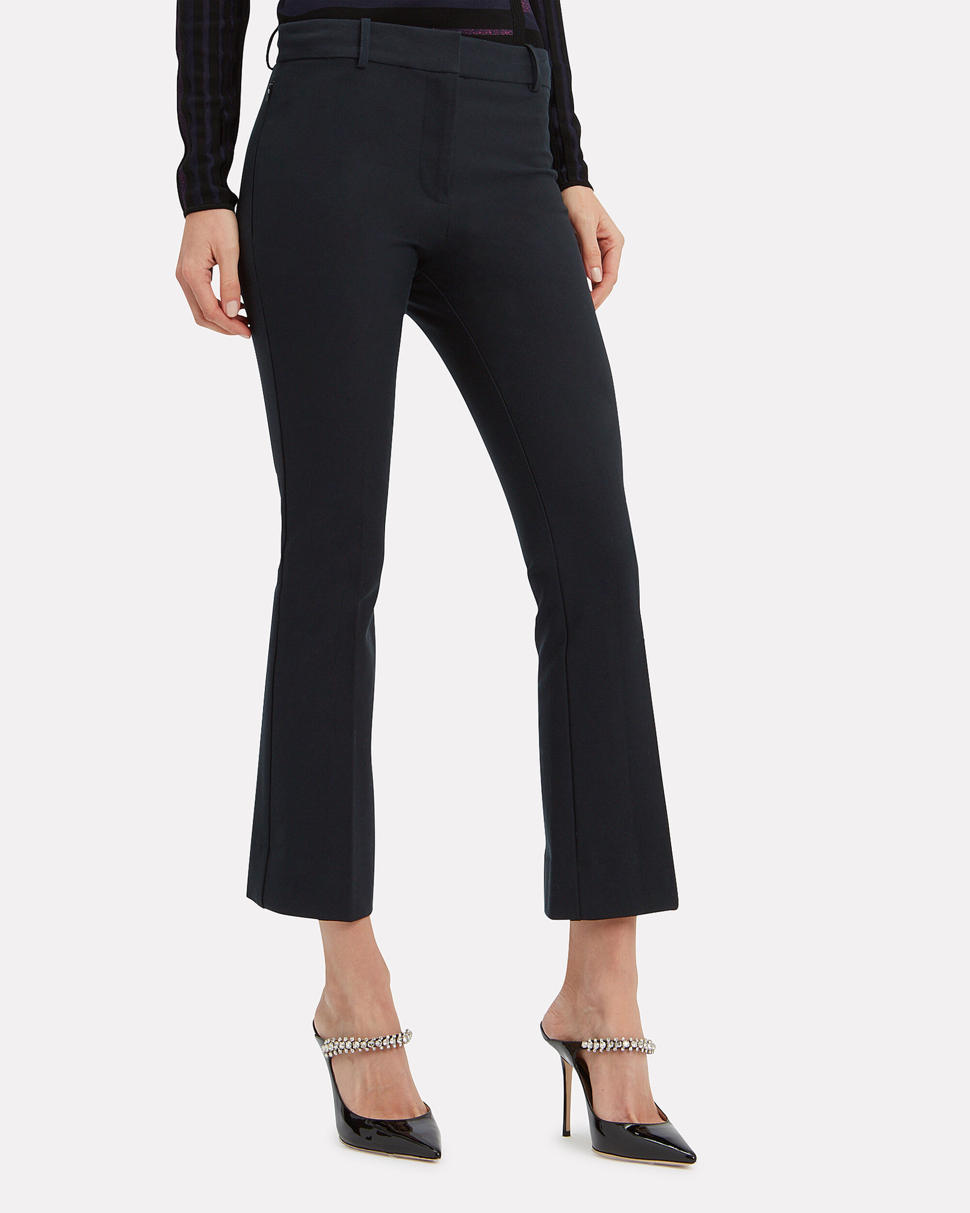 Navy Crop Flare Trousers, NAVY, hi-res