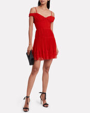 Pleated Chiffon Cold Shoulder Dress, RED, hi-res