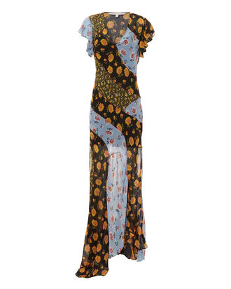Kemper Mixed Floral Silk Maxi Dress, MULTI, hi-res