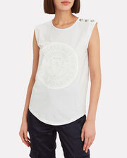 Button Embellished Tank Top, WHITE, hi-res