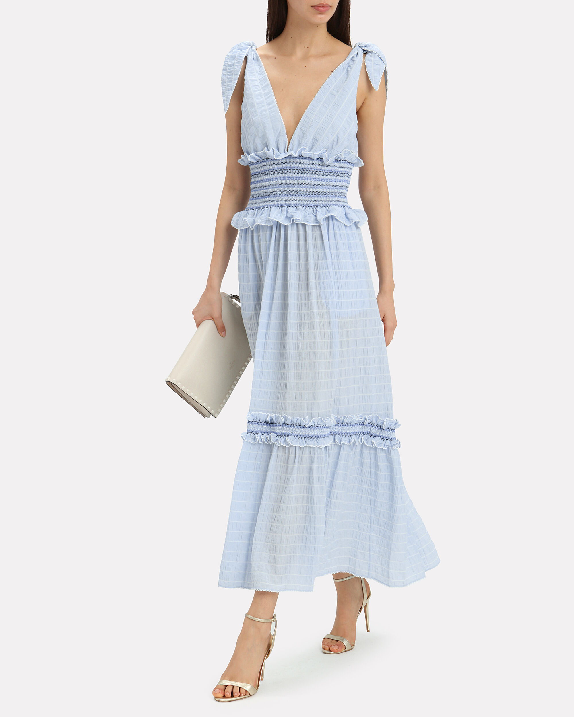 Smocked Tier Maxi Dress, LIGHT BLUE, hi-res