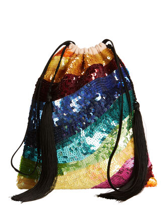 Multicolored Sequin Tassel Pouch, MULTI, hi-res