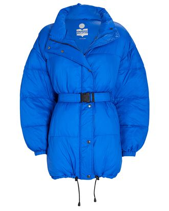 Dilys Quilted Recycled Puffer Coat, BLUE, hi-res