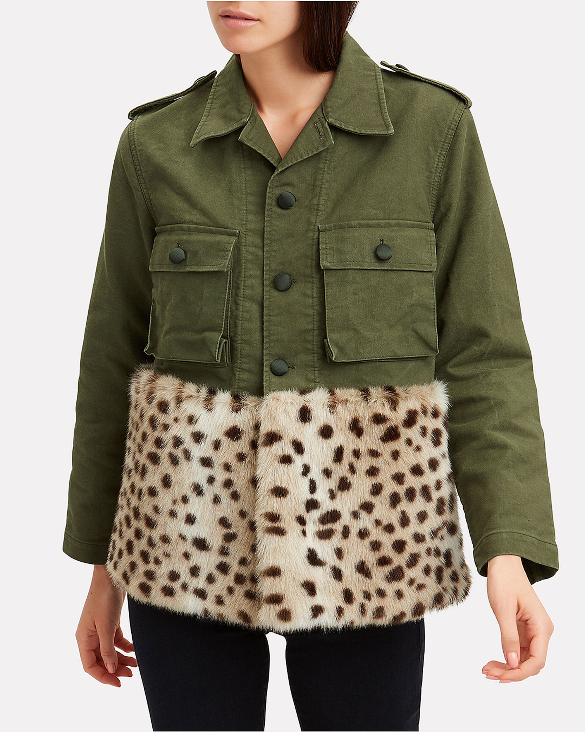 Leopard Faux Fur Field Jacket, MILITARY GREEN/LEOPARD, hi-res