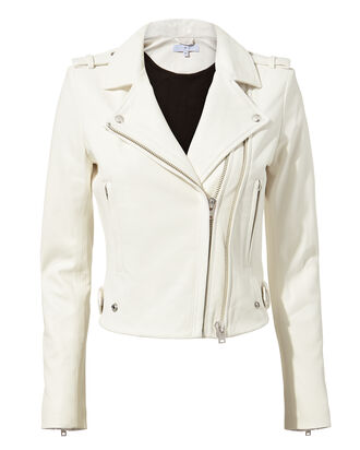Dylan White Cropped Moto Jacket, WHITE, hi-res