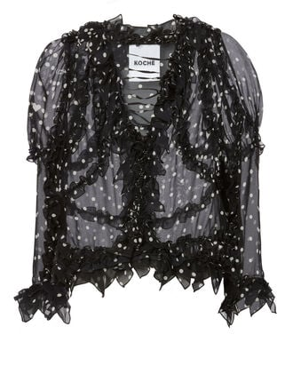 Ruffle-Trimmed Polka Dot Silk Blouse, BLK/WHT, hi-res