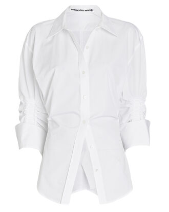 Cinched Poplin Button-Down Shirt, WHITE, hi-res